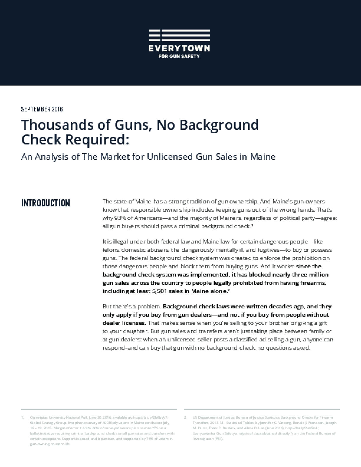 Thousands of Guns, No Background Check Required: An Analysis of The Market for Unlicensed Gun Sales in Maine