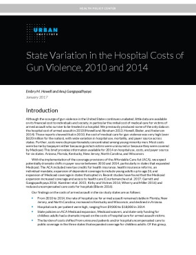 State Variation in the Hospital Costs of Gun Violence, 2010 and 2014
