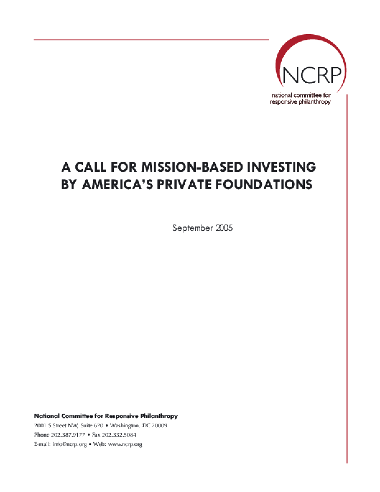 A Call for Mission-based Investing by America's Private Foundations
