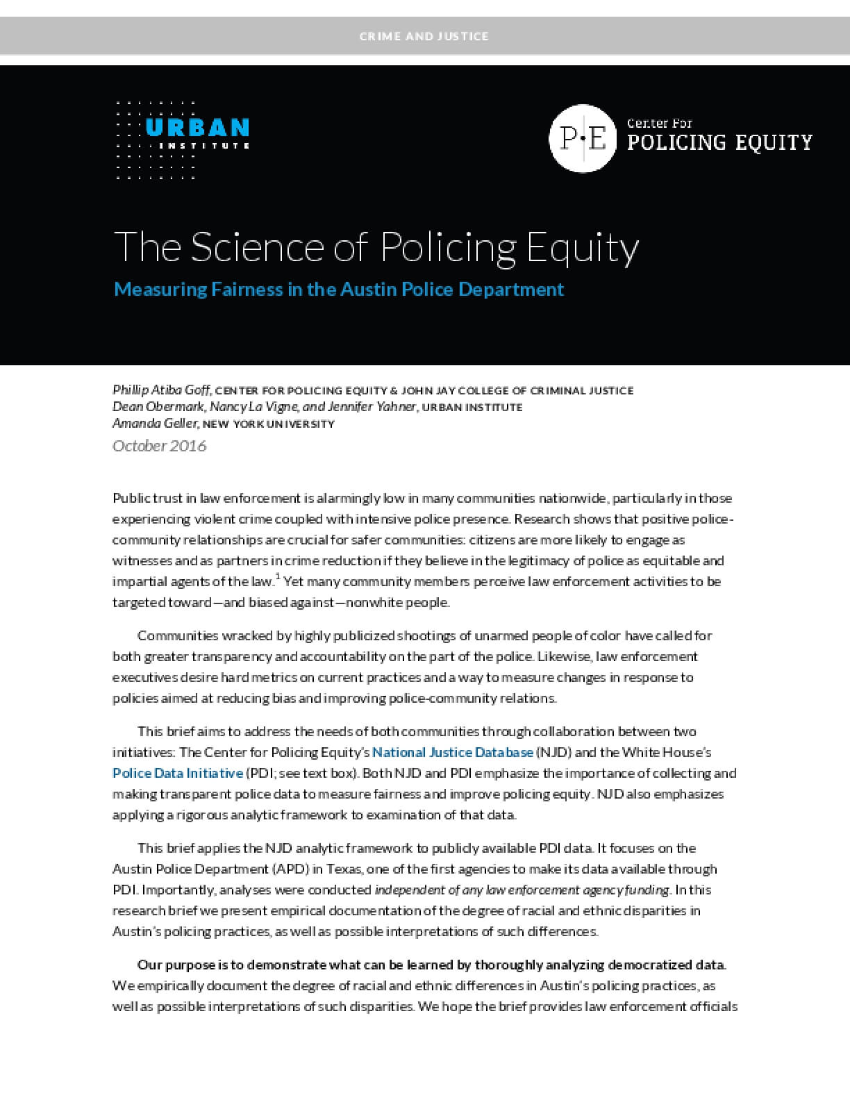 The Science of Policing Equity: Measuring Fairness in the Austin Police Department