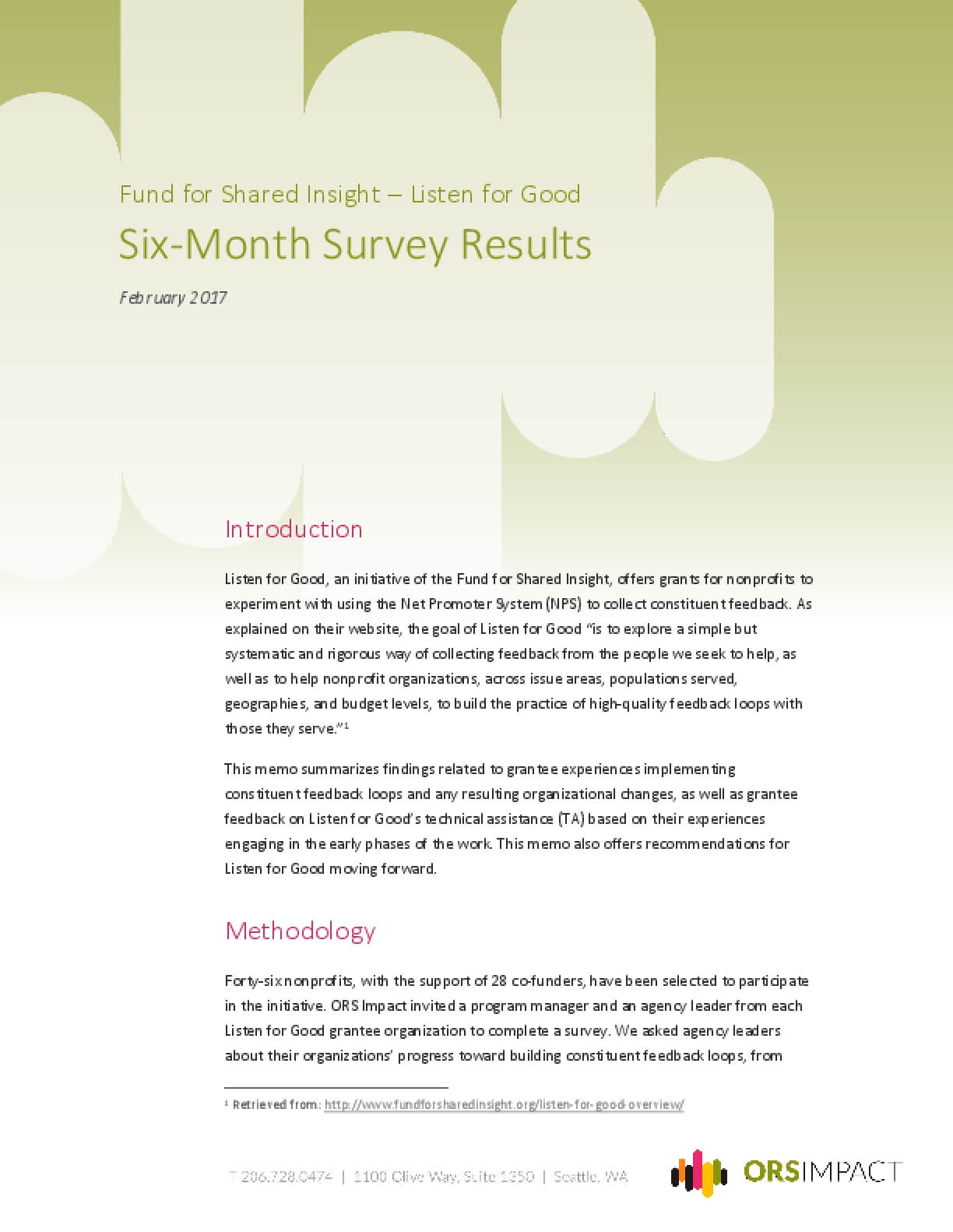 Listen for Good Six-Month Survey Results