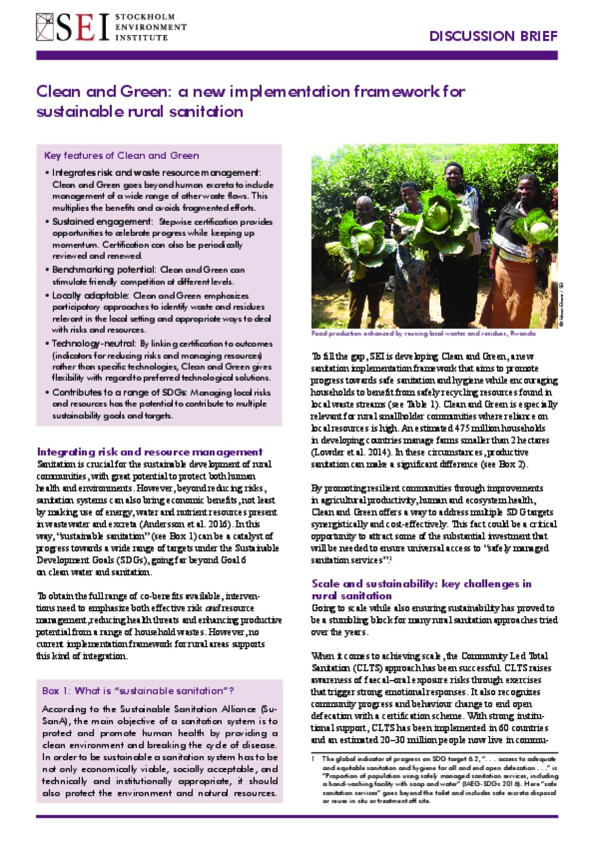 Clean and Green: A New Implementation Framework for Rural Sustainable Sanitation