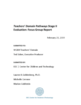 WGBH Teachers' Domain Pathways Stage II Evaluation: Focus Group Report