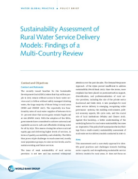 Sustainability Assessment of Rural Water Service Delivery Models : Findings of a Multi-Country Review