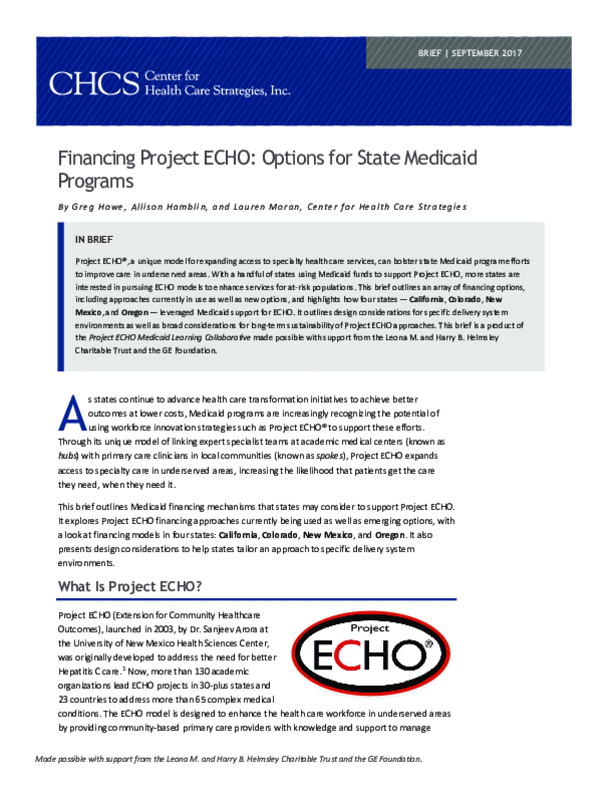 Financing Project ECHO: Options for State Medicaid Programs