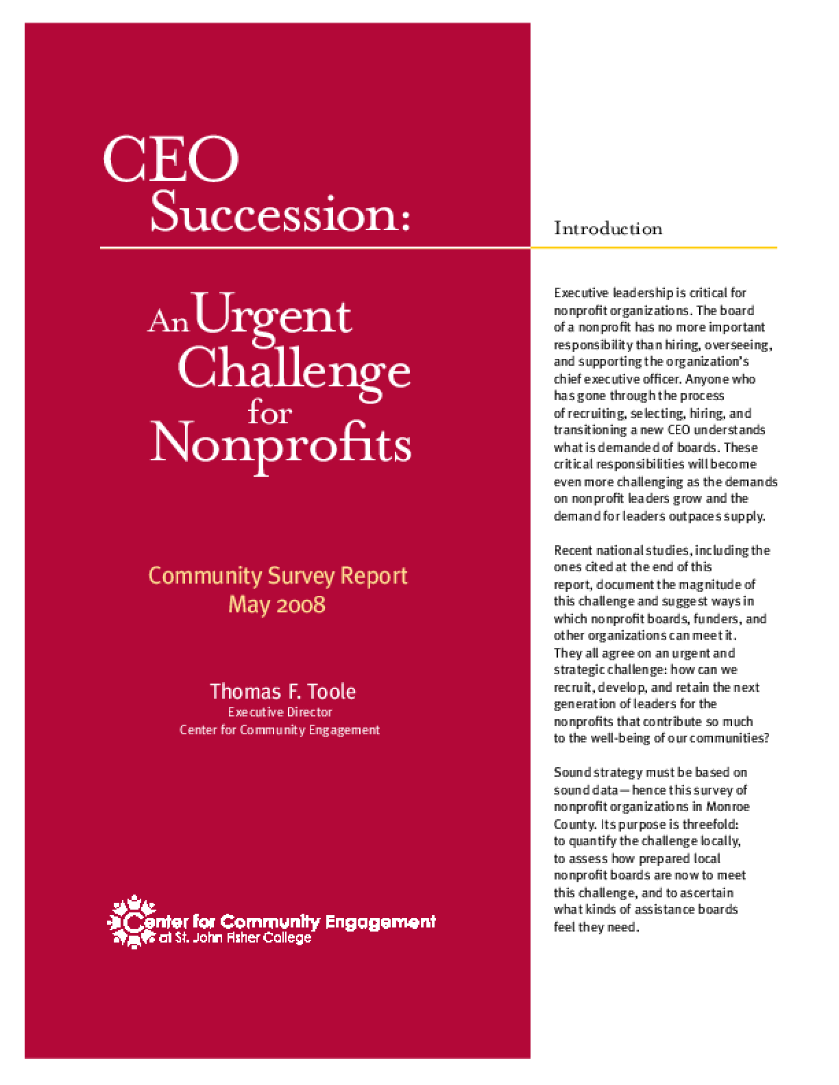 CEO Succession: an Urgent Challenge for Nonprofits