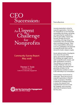 CEO Succession: an Urgent Challenge for Nonprofits