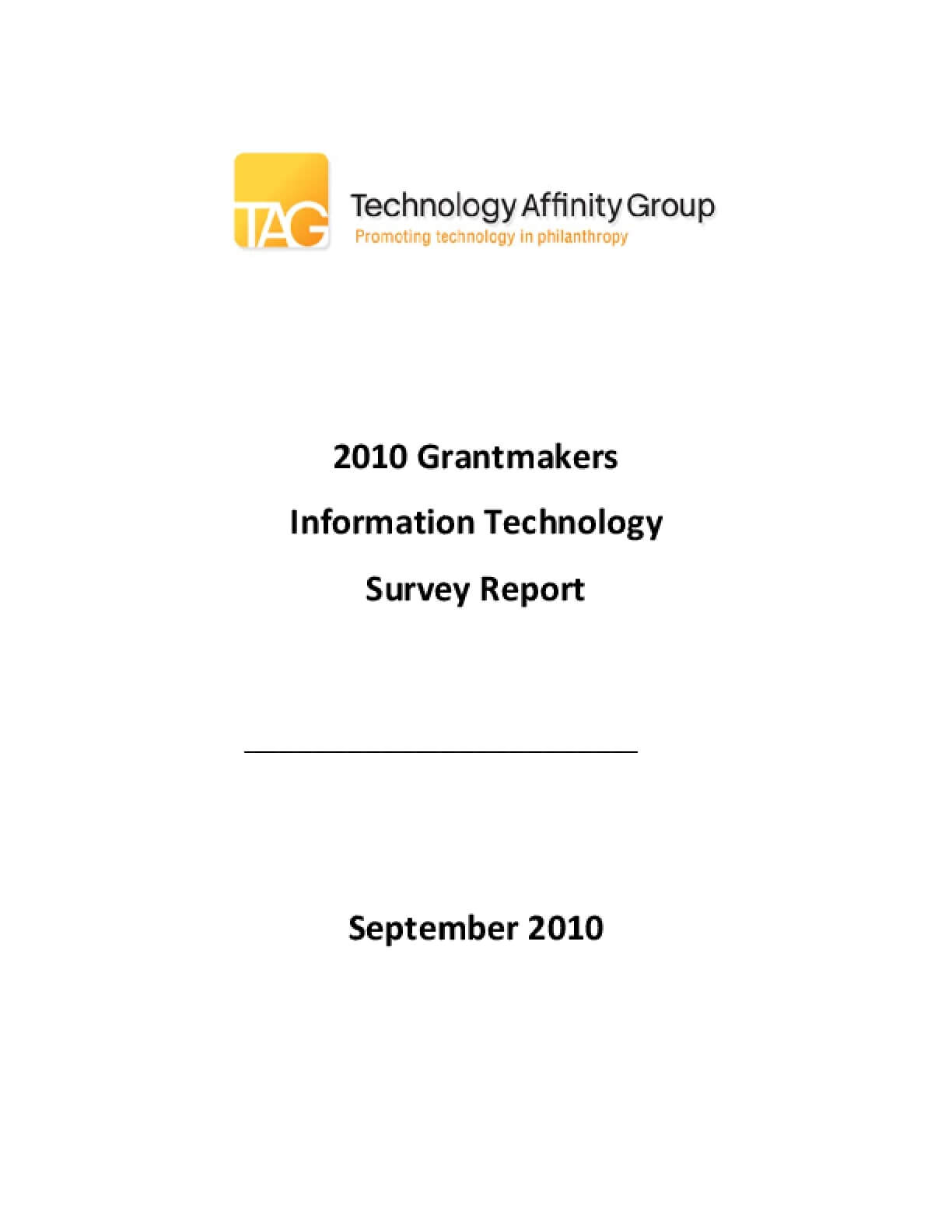 2010 Grantmakers Information Technology Survey Report