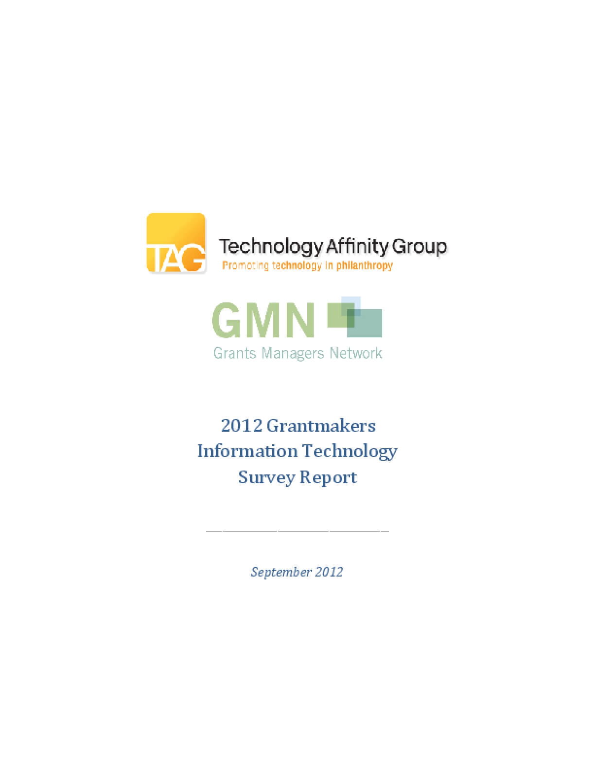 2012 Grantmakers Information Technology Survey Report