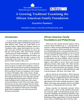 A Growing Tradition: Examining the African American Family Foundation