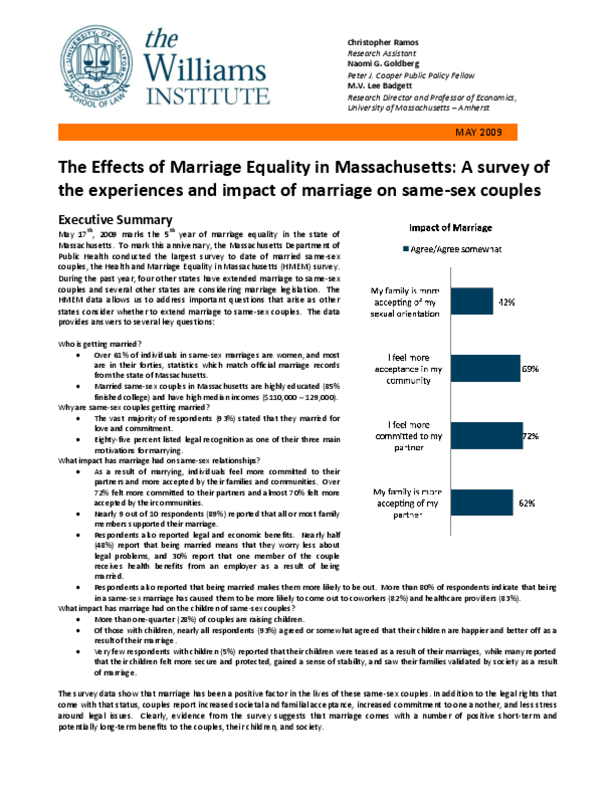 The Effects of Marriage Equality in Massachusetts: A survey of the experiences and impact of marriage on same-sex couples