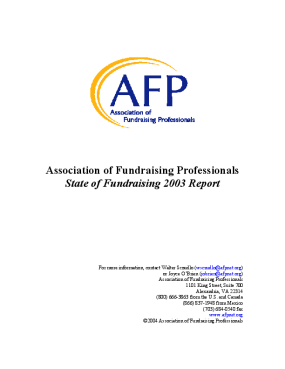 Association of Fundraising Professionals State of Fundraising 2003 Report