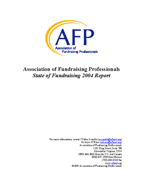 Association of Fundraising Professionals State of Fundraising 2004 Report