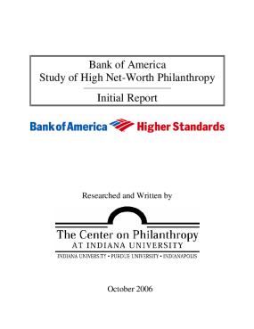 Bank of America Study of High Net-worth Philanthropy: Initial Report