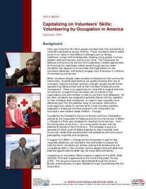 Capitalizing on Volunteers? Skills: Volunteering By Occupation in America