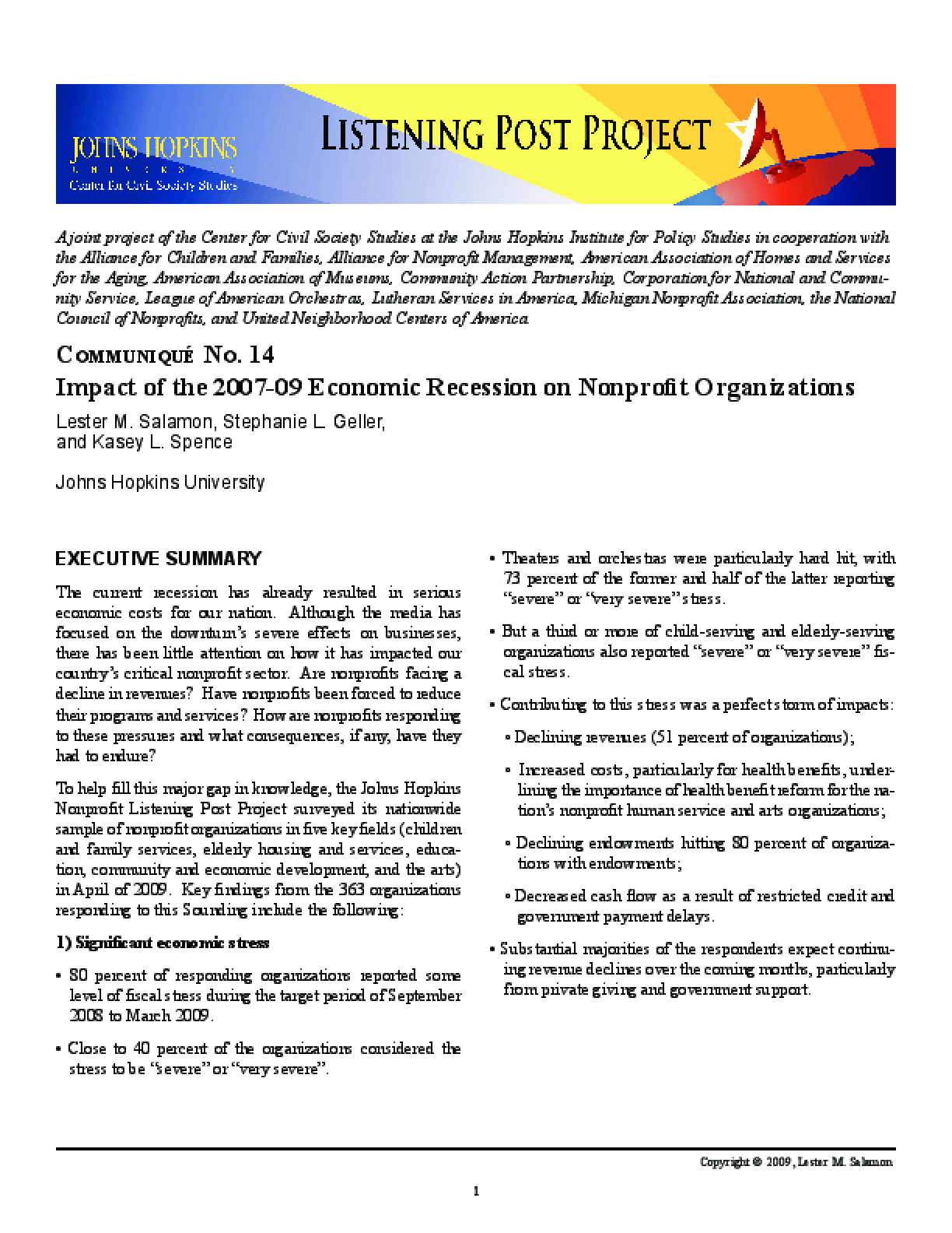 Communiqué No. 14: Impact of the 2007-09 Economic Recession on Nonprofit Organizations