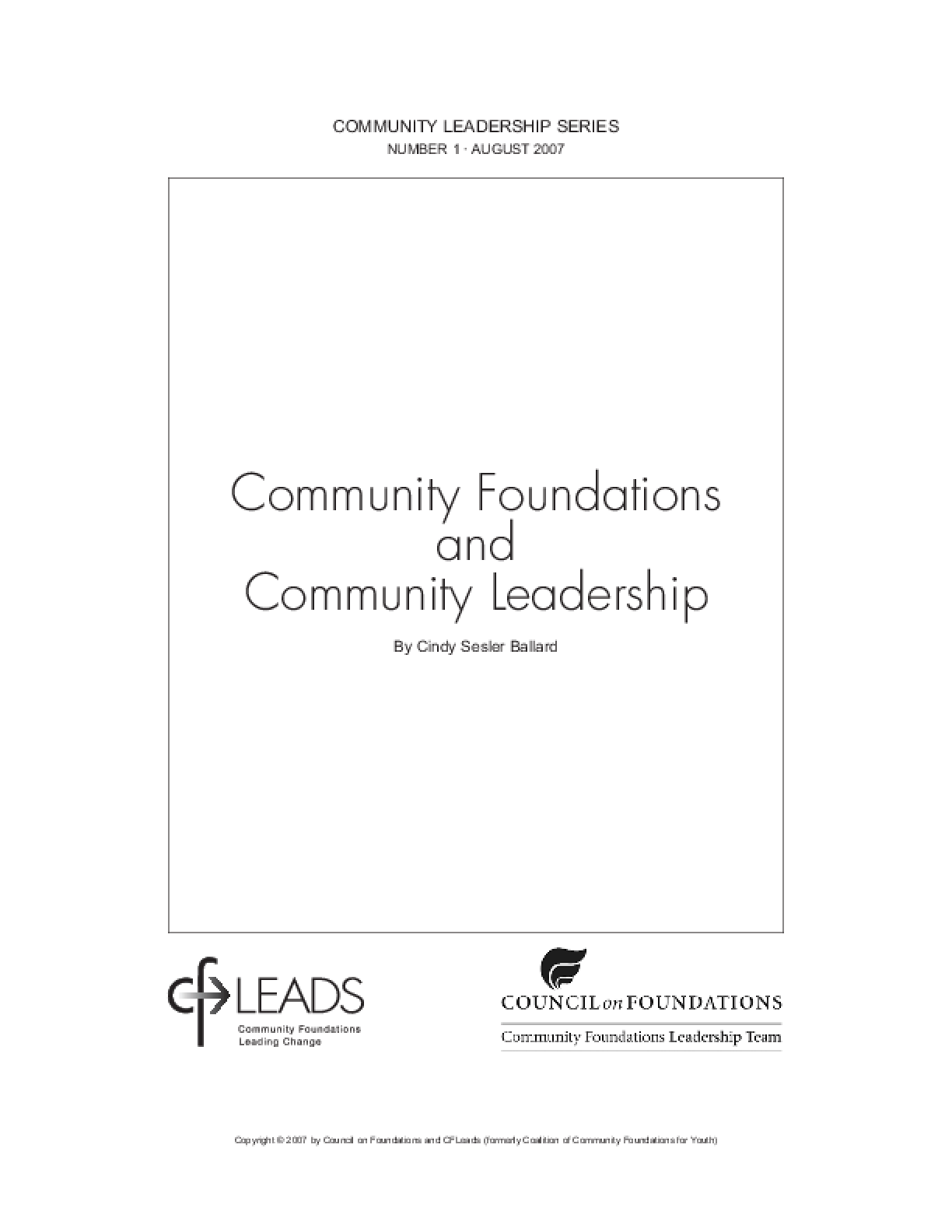 Community Foundations and Community Leadership
