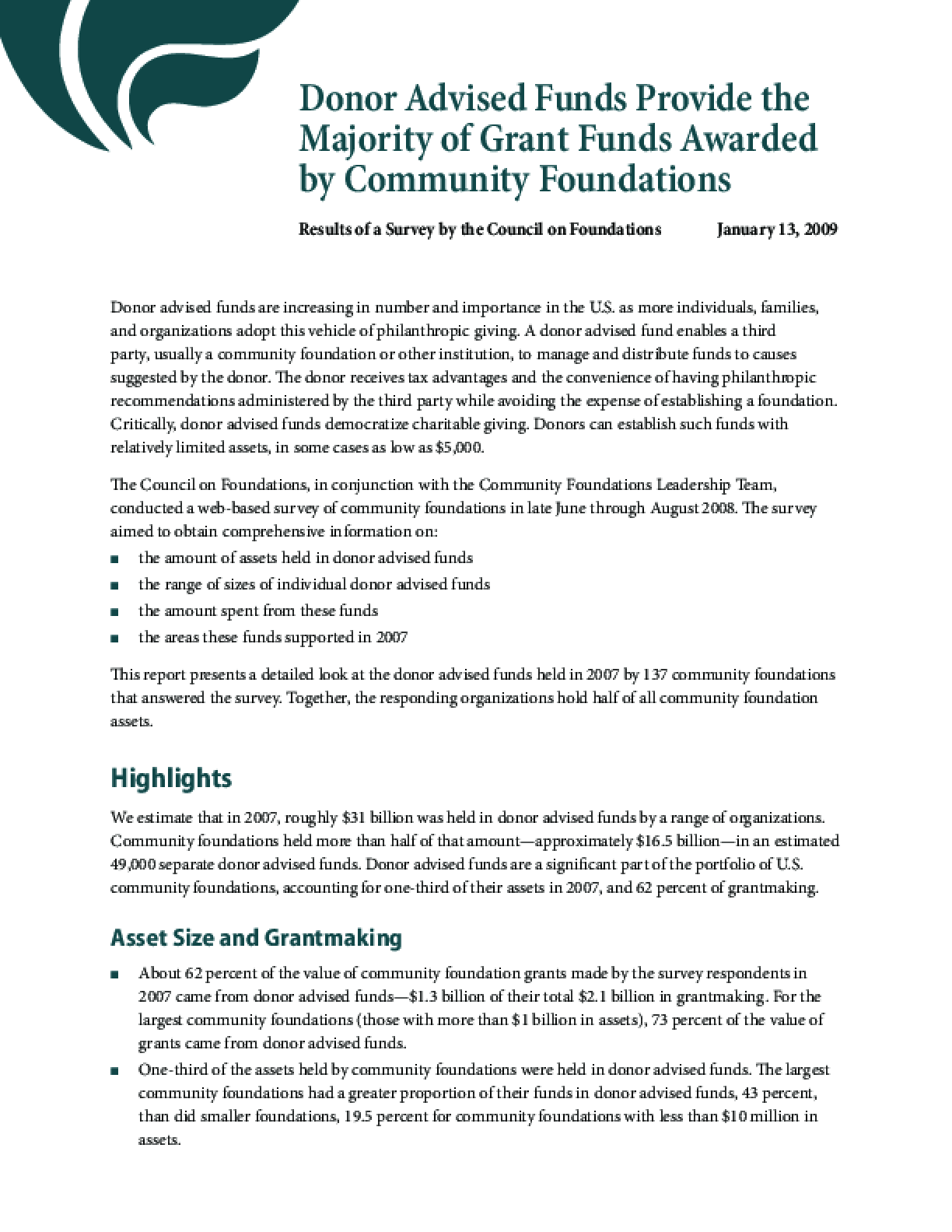 Donor-advised Funds Provide the Majority of Grant Funds Awarded By Community Foundations