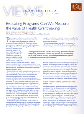 Evaluating Programs: Can We Measure the Value of Health Grantmaking?