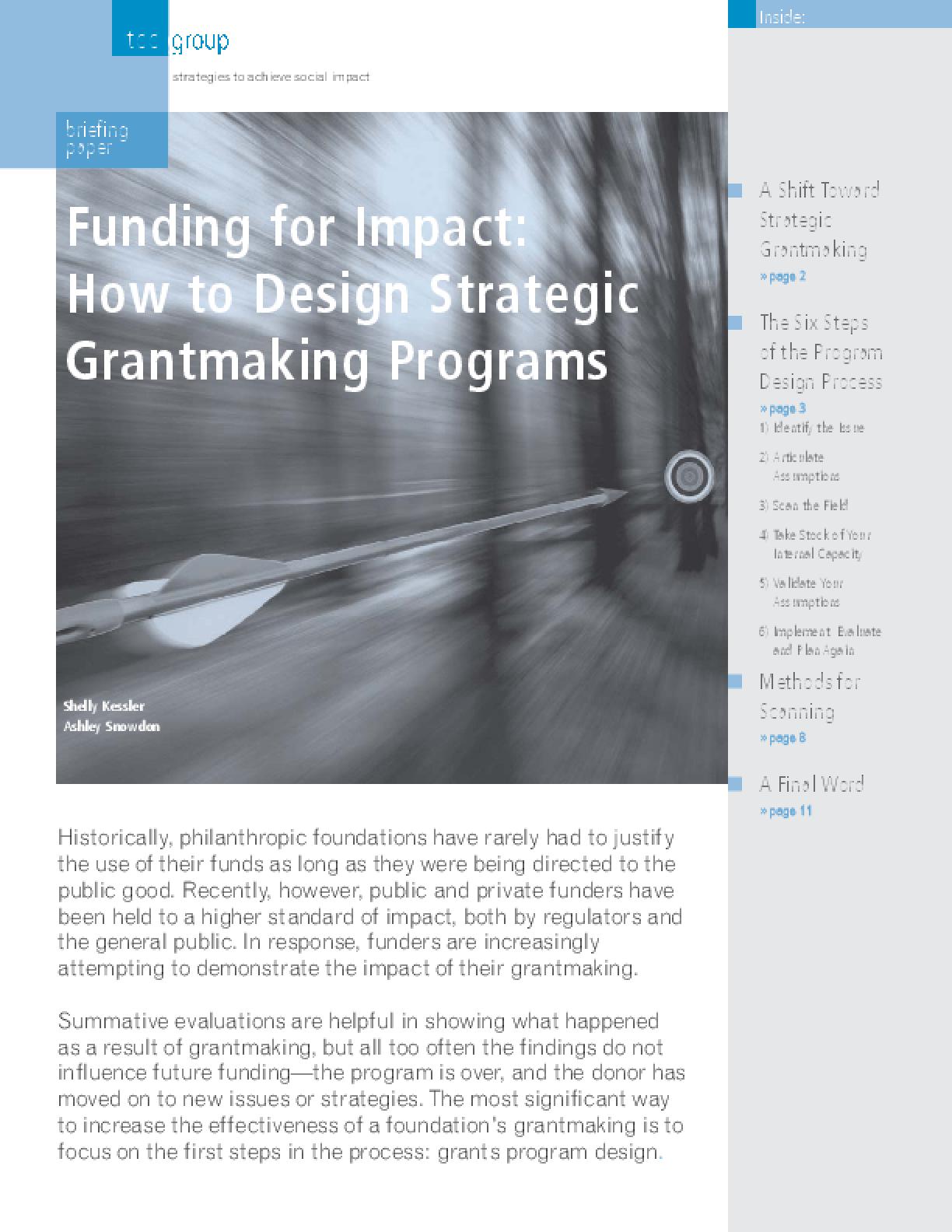 Funding for Impact: How to Design Strategic Grantmaking Programs