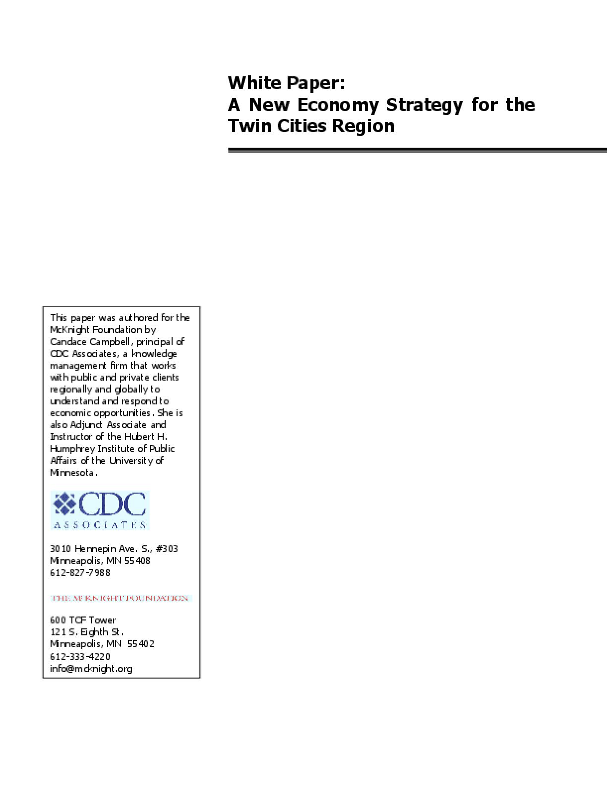 A New Economy Strategy for the Twin Cities Region