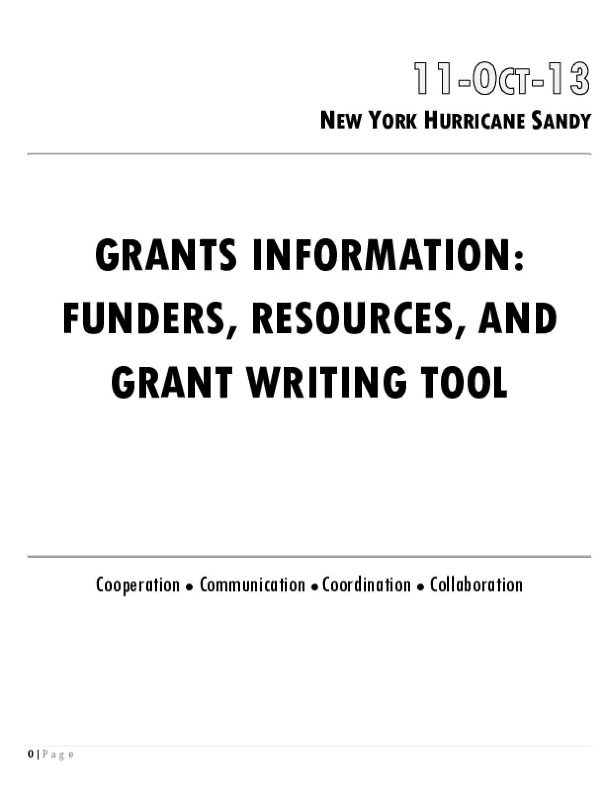 Grants Information: Funders, Resources, and Grant Writing Tool - 11-Oct-13 Hurricane Sandy