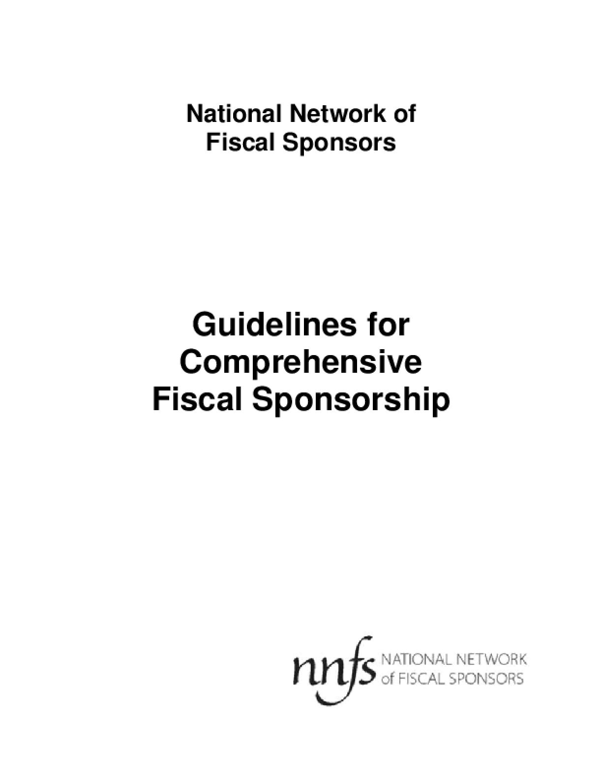 Guidelines for Comprehensive Fiscal Sponsorship