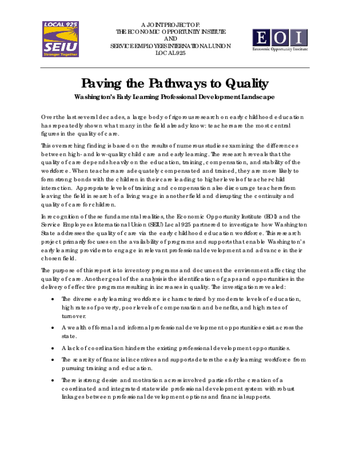 Paving The Pathways To Quality Washington S Early Learning