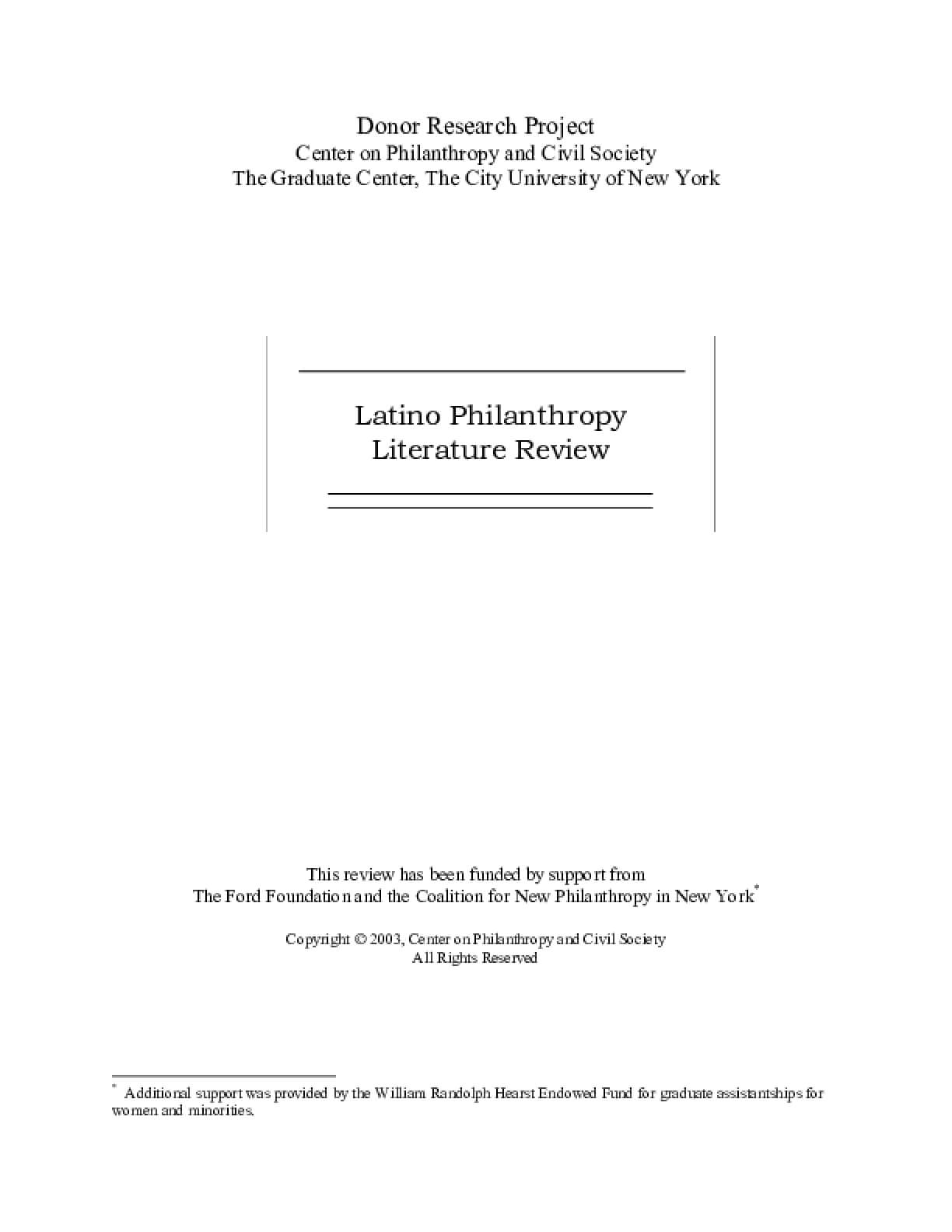 Latino Philanthropy: Literature Review