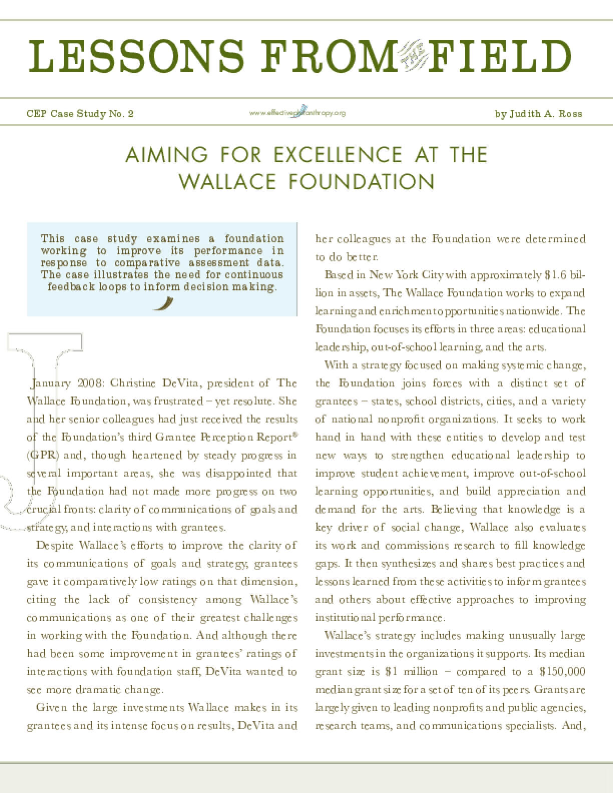 Lessons From the Field: Aiming for Excellence At the Wallace Foundation