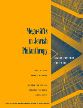 Mega-gifts in Jewish Philanthropy: Giving Patterns 2001-2003