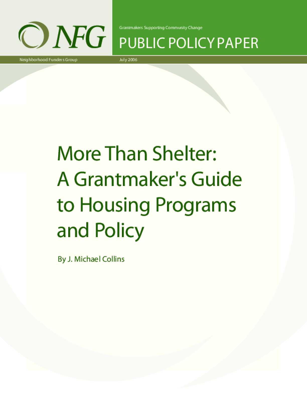 More Than Shelter: A Grantmaker's Guide to Housing Programs and Policy