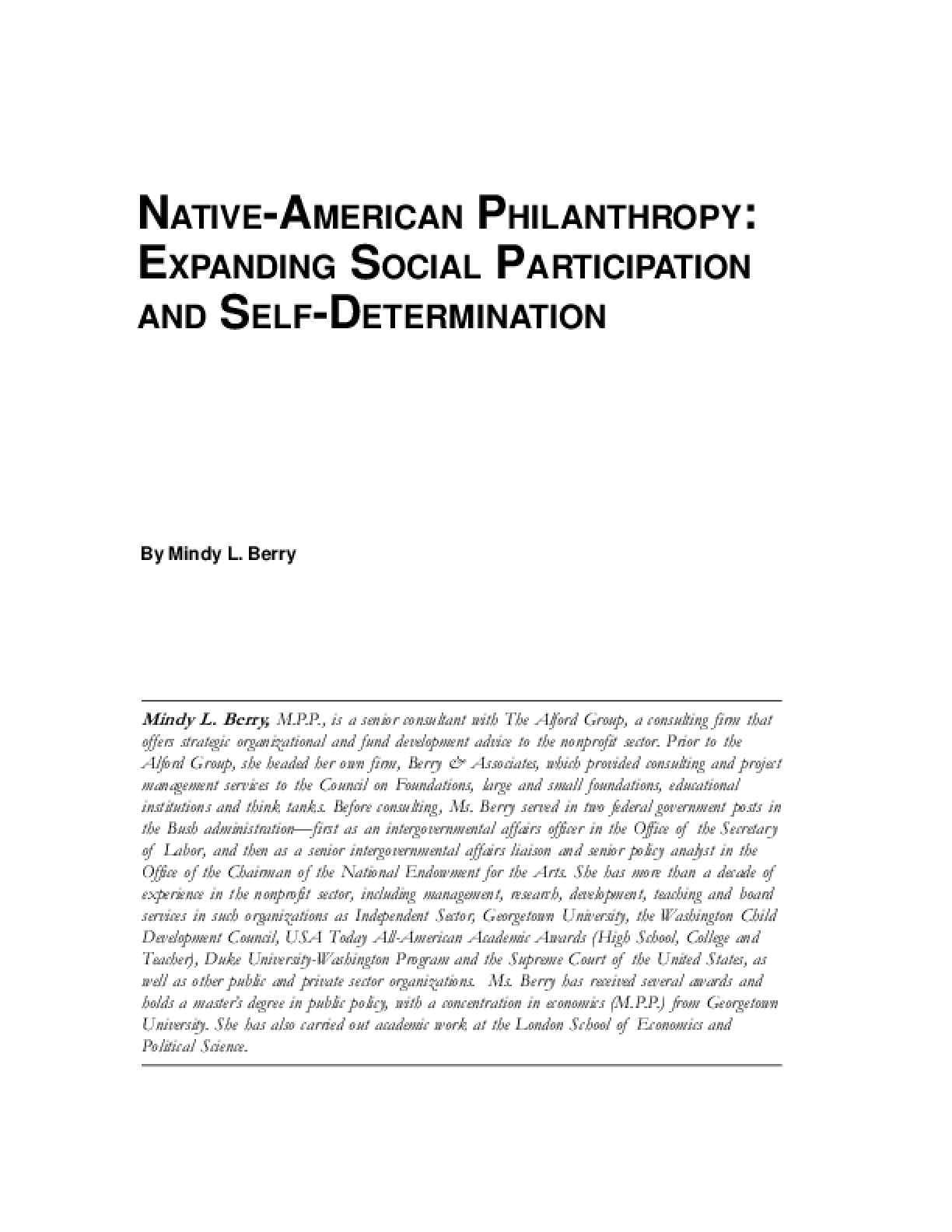 Native-American Philanthropy: Expanding Social Participation and Self-determination