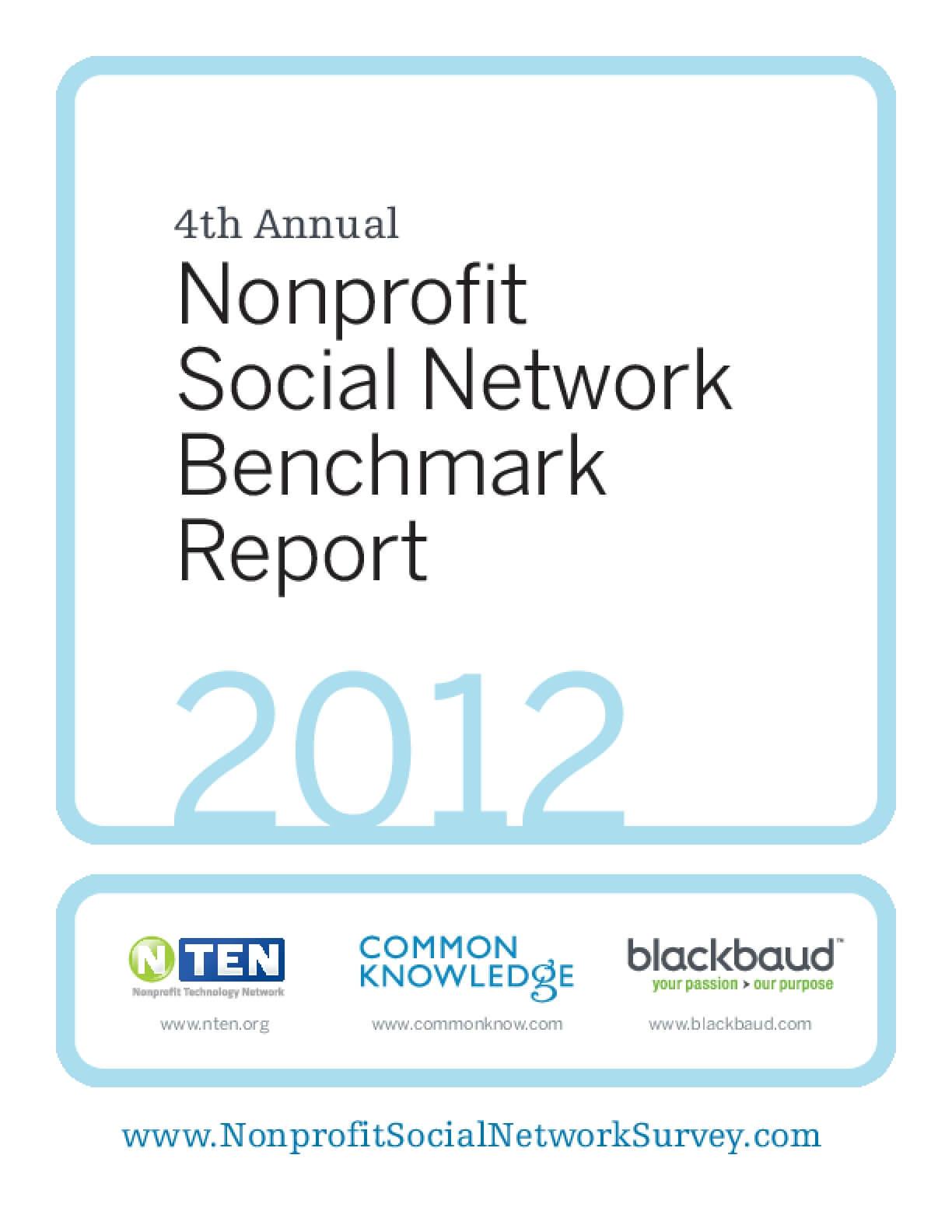 Nonprofit Social Network Benchmark Report, 2012