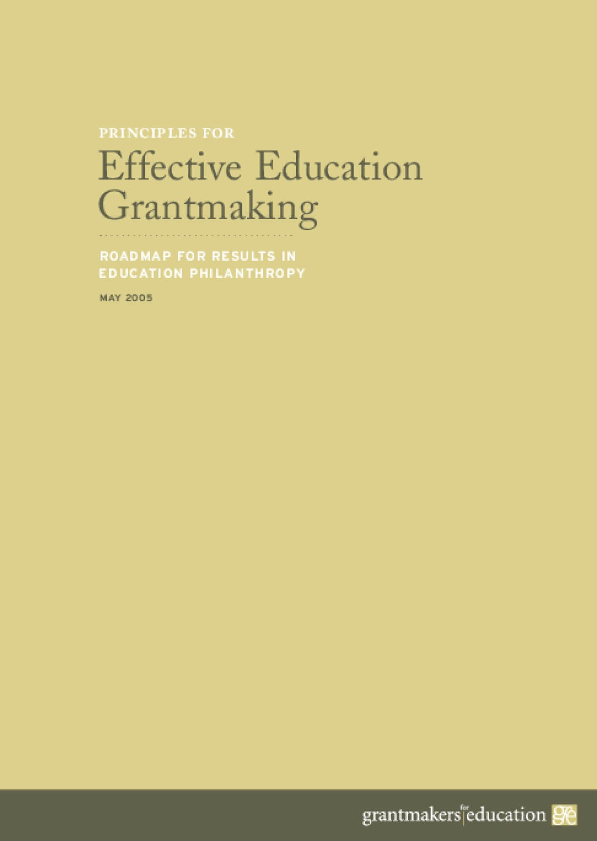 Principles for Effective Education Grantmaking