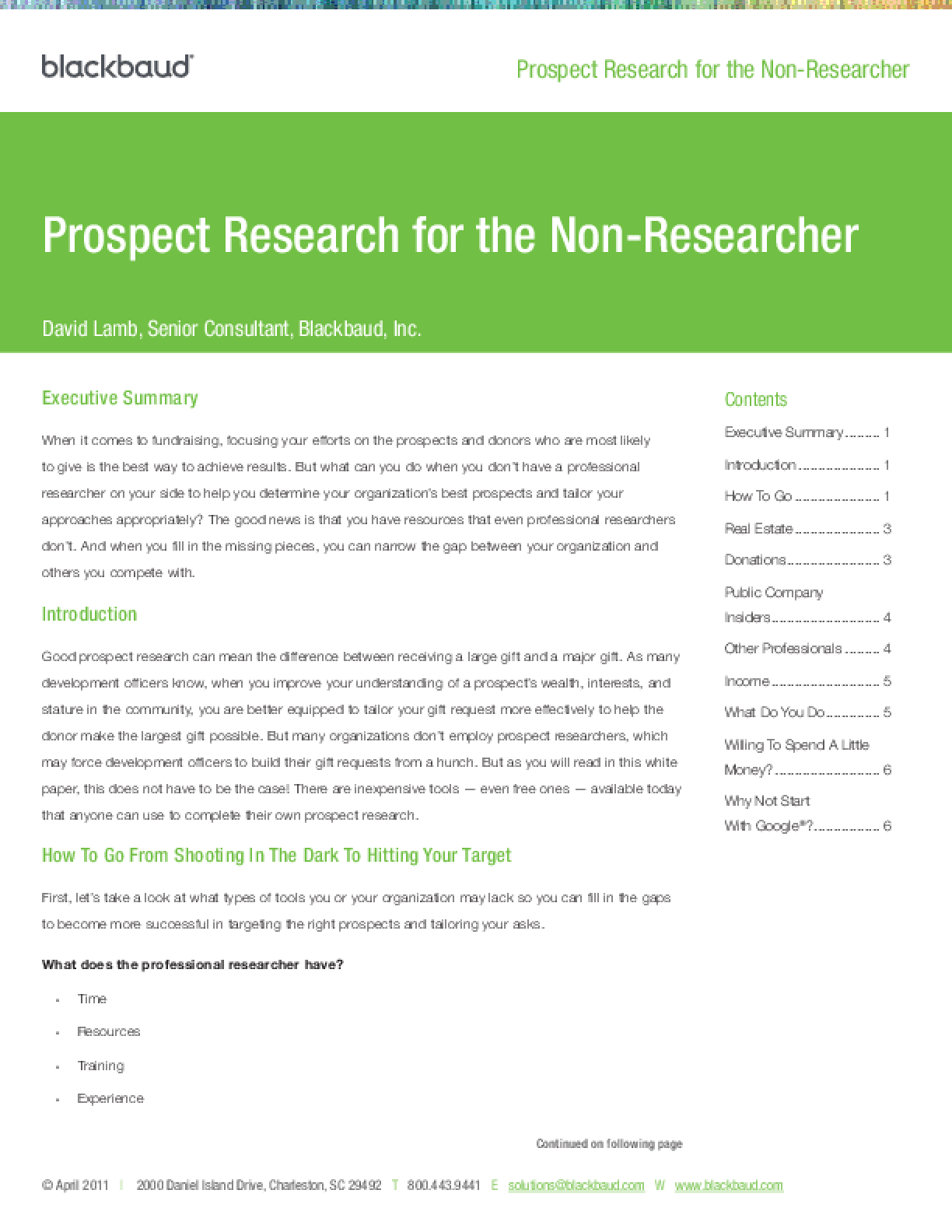 Prospect Research for the Non-researcher