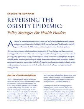 Reversing the Obesity Epidemic: Policy Strategies for Health Funders