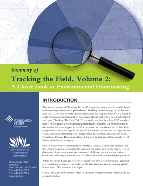 Summary of Tracking the Field, Volume 2: A Closer Look At Environmental Grantmaking