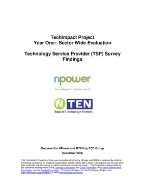 TechImpact Project. Year One: Sector Wide Evaluation: Technology Service Provider (TSP) Survey Findings