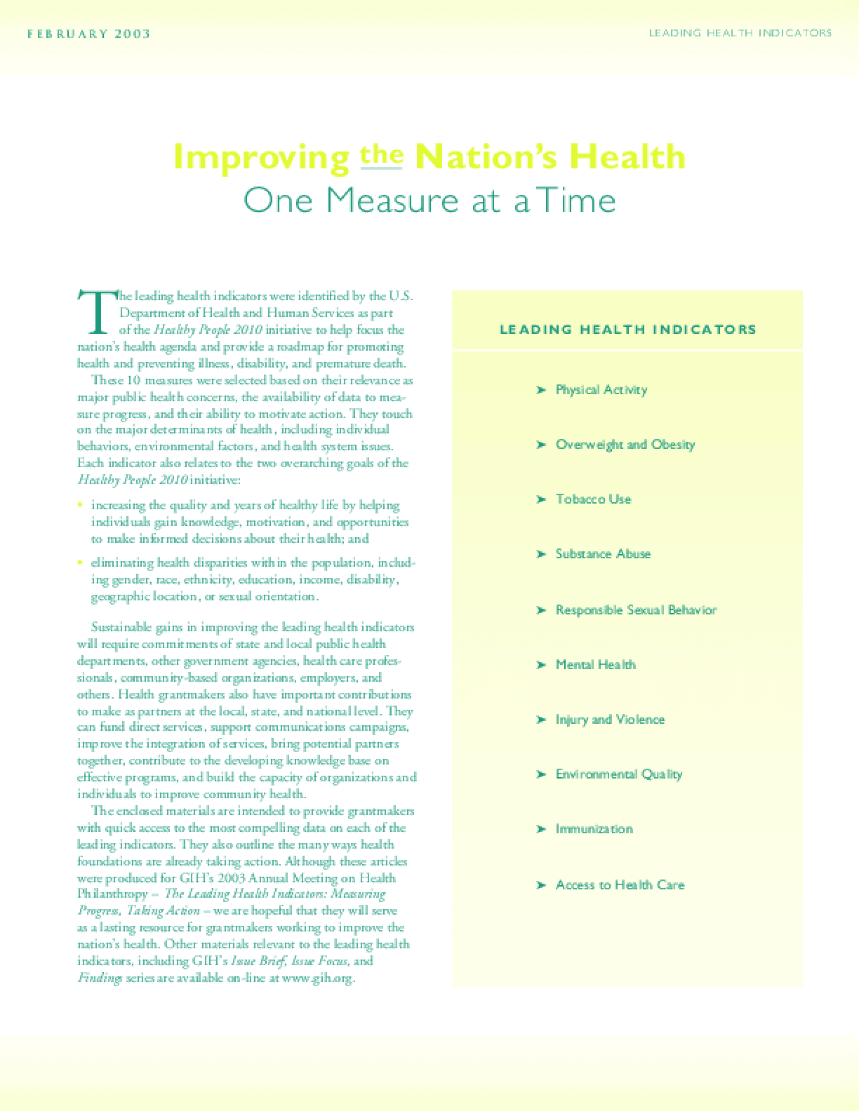 The Nation's Leading Health Indicators: Measuring Progress, Taking Action