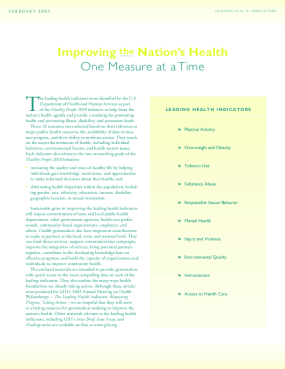 The Nation's Leading Health Indicators: Measuring Progress, Taking Action