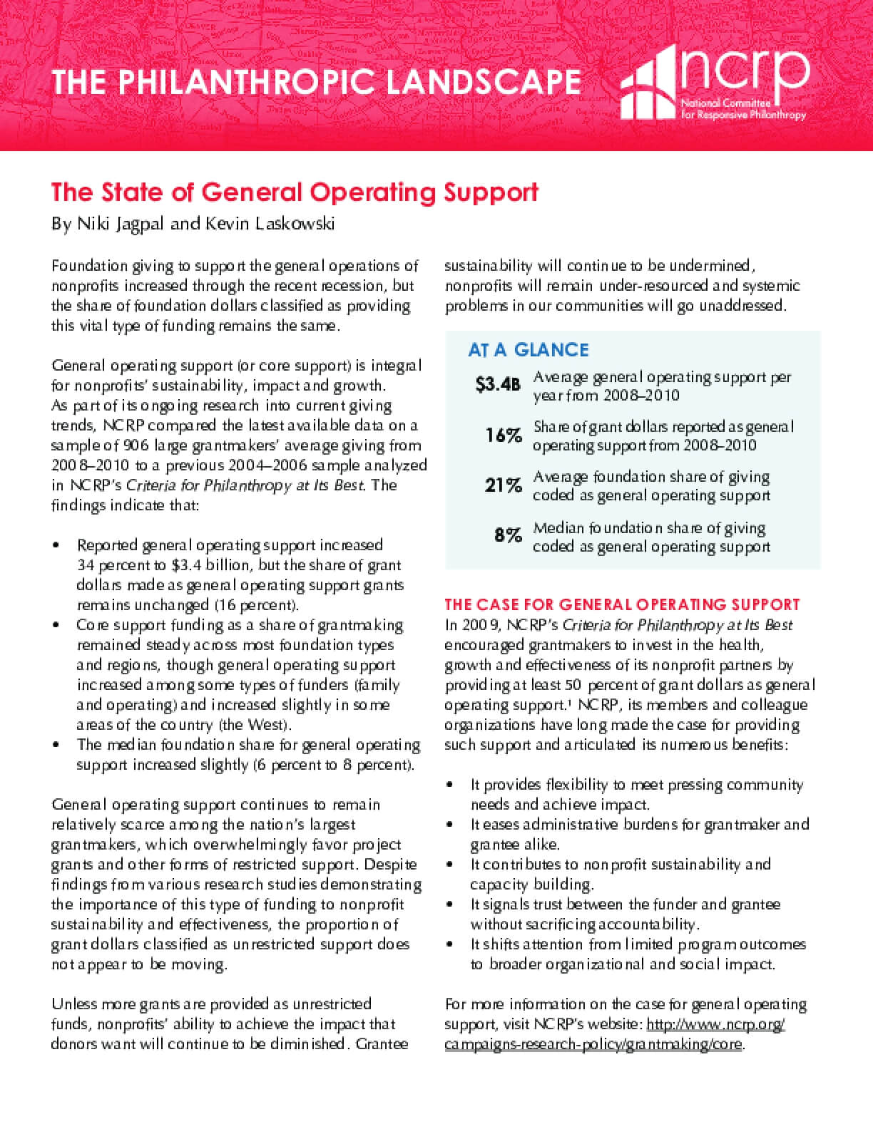 The State of General Operating Support