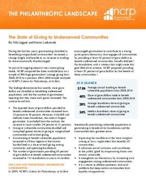The State of Giving to Underserved Communities