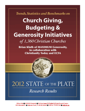 Trends, Statistics and Benchmarks on Church Giving, Budgeting & Generosity Initiatives of 1,360 Christian Churches: 2012 State of the Plate Research Results