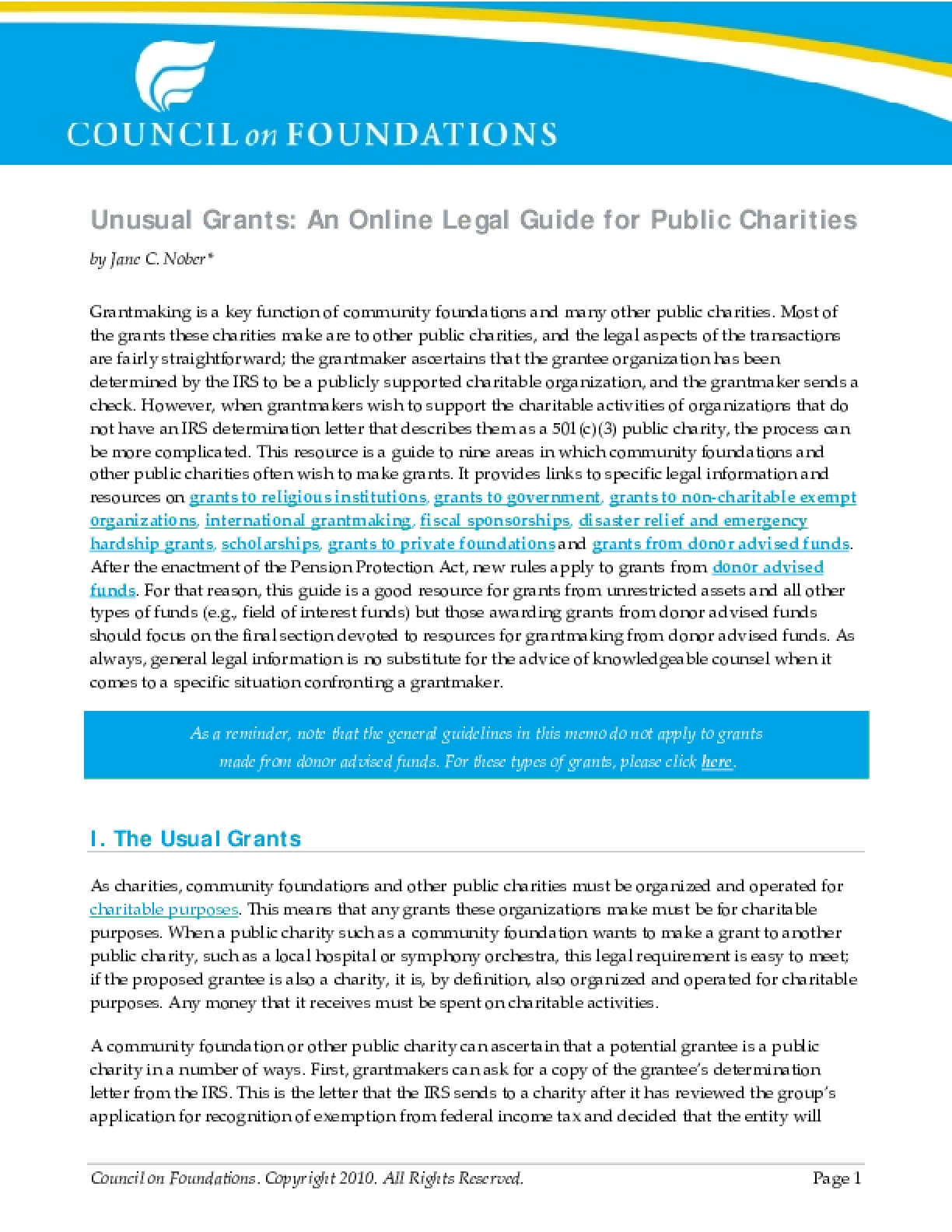Unusual Grants: An Online Legal Guide for Public Charities
