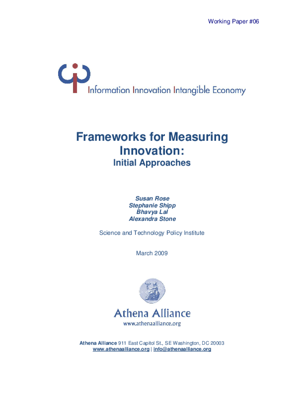 Frameworks for Measuring Innovation: Initial Approaches