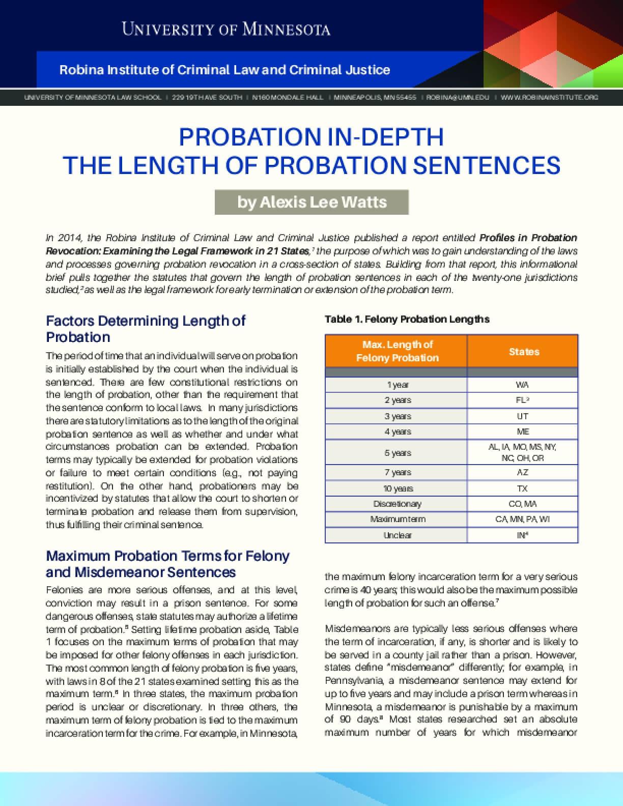Probation In-Depth: The Length of Probation Sentences