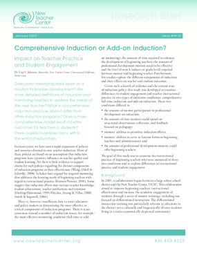 Comprehensive Induction or Add-on Induction: Impact on Teacher Practice and Student Engagement