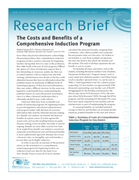 The Costs and Benefits of a Comprehensive Induction Program
