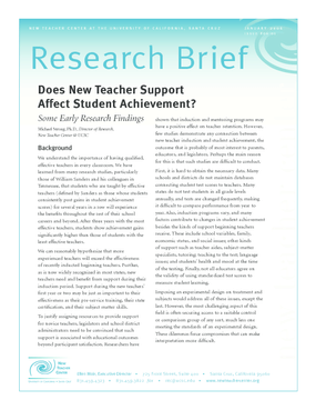 Does New Teacher Support Affect Student Achievement? Some Early Research Findings